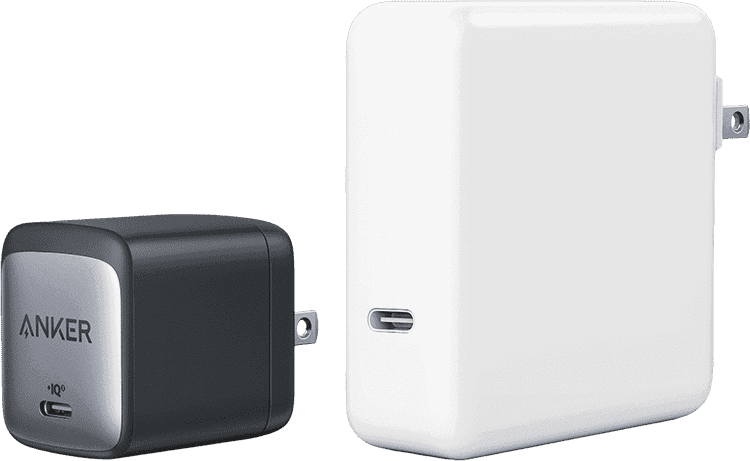 Nano II 65Wと従来の一般的な60W以上の充電器